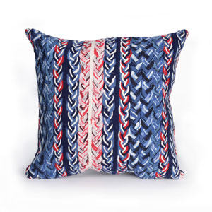 Visions III Navy 20-Inch Braided Stripe Outdoor Pillow