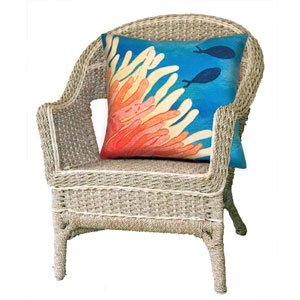 Visions III Coral 20-Inch Reef and Fish Outdoor Pillow