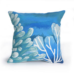 Visions III Blue 20-Inch Reef Outdoor Pillow