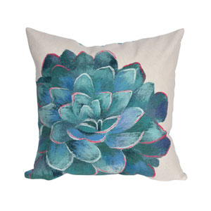 Visions III Cream 20-Inch Succulent Outdoor Pillow