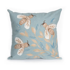 Visions III Aqua 20-Inch Bees Outdoor Pillow