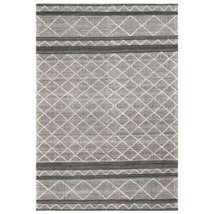 Artista Grey Rectangular 7 Ft. 6 In. x 9 Ft. 6 In. Diamond Stripe Outdoor Rug