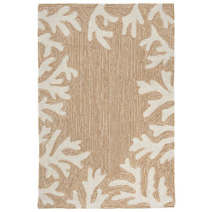 Capri Ivory Rectangular 30 In. x 48 In. Coral Border Outdoor Rug