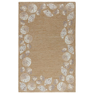 Capri Ivory Rectangular 42 In. x 66 In. Seashell Border Outdoor Rug