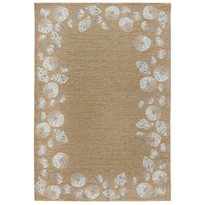 Capri Ivory Rectangular 5 Ft. x 7 Ft. 6 In. Seashell Border Outdoor Rug