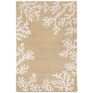 Capri Ivory Rectangular 8 Ft. 3 In. x 11 Ft. 6 In. Coral Border Outdoor Rug