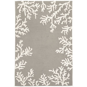 Capri Silver Rectangular 8 Ft. 3 In. x 11 Ft. 6 In. Coral Border Outdoor Rug
