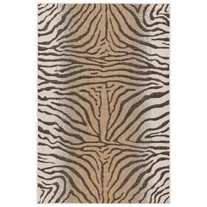 Carmel Silver Rectangular 4 Ft. 10 In. x 7 Ft. 6 In. Zebra Outdoor Rug