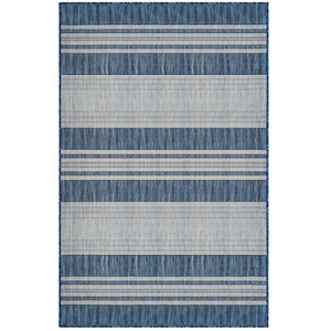 Carmel Silver Rectangular 4 Ft. 10 In. x 7 Ft. 6 In. Stripe Outdoor Rug