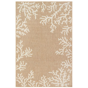 Carmel Silver Rectangular 4 Ft. 10 In. x 7 Ft. 6 In. Coral Border Outdoor Rug