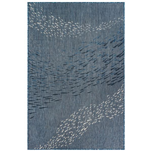 Carmel Silver Rectangular 4 Ft. 10 In. x 7 Ft. 6 In. School Of Fish Outdoor Rug