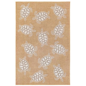 Carmel Silver Rectangular 6 Ft. 6 In. x 9 Ft. 4 In. Seaturtles Outdoor Rug