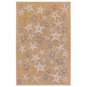 Carmel Silver Rectangular 6 Ft. 6 In. x 9 Ft. 4 In. Starfish Outdoor Rug