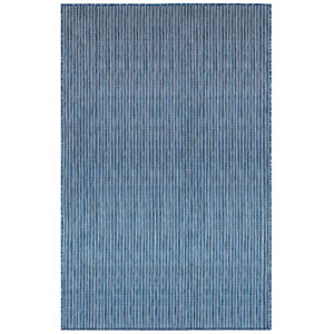 Carmel Silver Rectangular 6 Ft. 6 In. x 9 Ft. 4 In. Texture Stripe Outdoor Rug