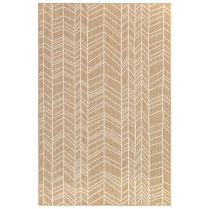 Liora Manne Carmel Sand 6 Ft. 6 In. x 9 Ft. 4 In. Chevron Indoor/Outdoor Rug