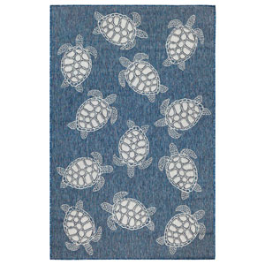 Carmel Silver Rectangular 7 Ft. 10 In. x 9 Ft. 10 In. Seaturtles Outdoor Rug