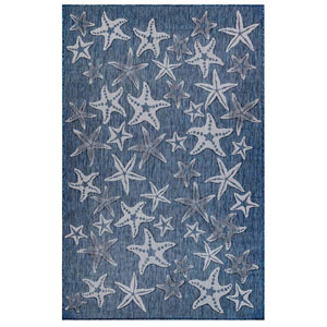 Carmel Silver Rectangular 7 Ft. 10 In. x 9 Ft. 10 In. Starfish Outdoor Rug