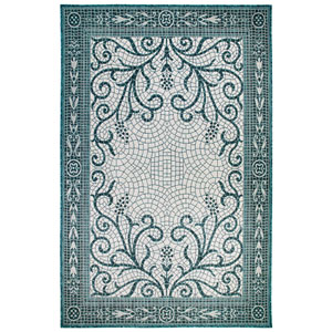Carmel Silver Rectangular 7 Ft. 10 In. x 9 Ft. 10 In. Mosaic Outdoor Rug