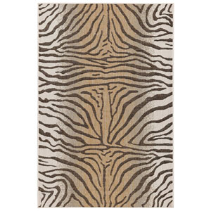 Carmel Silver Rectangular 7 Ft. 10 In. x 9 Ft. 10 In. Zebra Outdoor Rug