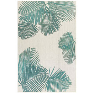Carmel Silver Rectangular 7 Ft. 10 In. x 9 Ft. 10 In. Palm Outdoor Rug