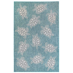 Carmel Silver Rectangular 8 Ft. 10 In. x 11 Ft. 9 In. Seaturtles Outdoor Rug