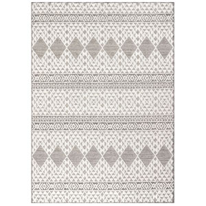Cove Silver Rectangular 7 Ft. 10 In. x 9 Ft. 10 In. Moroccan Diamonds Outdoor Rug