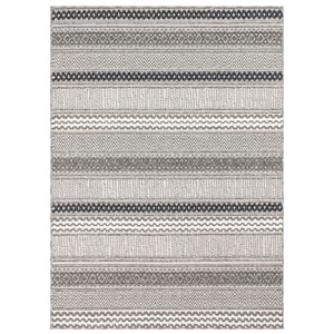 Cove Silver Rectangular 7 Ft. 10 In. x 9 Ft. 10 In. Tribal Stripe Outdoor Rug