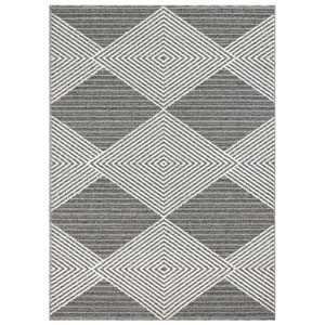 Cove Silver Rectangular 7 Ft. 10 In. x 9 Ft. 10 In. Tribal Diamond Outdoor Rug