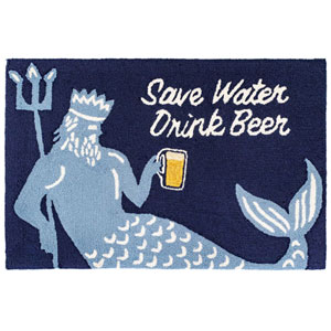 Frontporch Natural Rectangular 30 In. x 48 In. Save Water Drink Beer Outdoor Rug