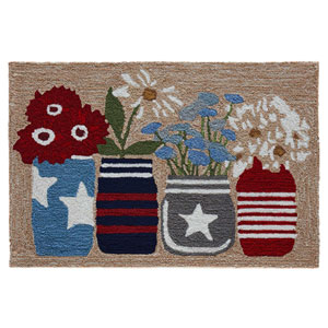 Frontporch Natural Rectangular 30 In. x 48 In. Flowers Outdoor Rug