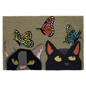Frontporch Natural Rectangular 30 In. x 48 In. Cats And Butterflies Outdoor Rug