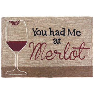 Frontporch Natural Rectangular 30 In. x 48 In. You Had Me At Merlot Outdoor Rug