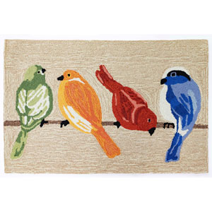 Frontporch Natural Rectangular 30 In. x 48 In. Birds Outdoor Rug