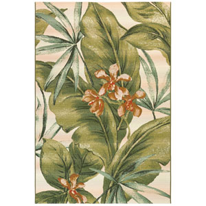 Marina Saffron Rectangular 4 Ft. 10 In. x 7 Ft. 6 In. Tropical Leaf Outdoor Rug