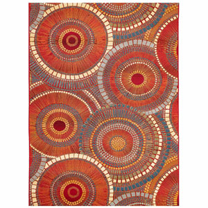Marina Saffron Rectangular 6 Ft. 6 In. x 9 Ft. 4 In. Circles Outdoor Rug