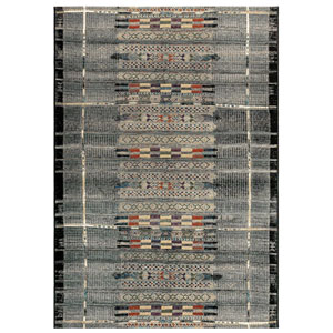 Marina Black Rectangular 6 Ft. 6 In. x 9 Ft. 4 In. Tribal Stripe Outdoor Rug
