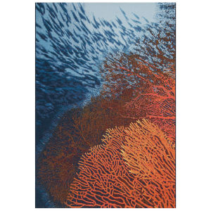 Liora Manne Marina Ocean 7 Ft. 10 In. x 9 Ft. 10 In. Coral Indoor/Outdoor Rug
