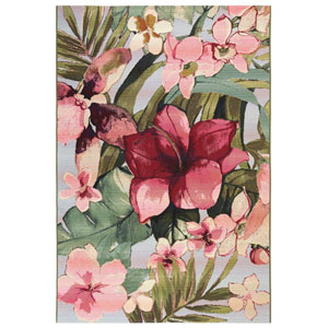 Marina Cream Rectangular 8 Ft. 10 In. x 11 Ft. 9 In. Tropical Floral Outdoor Rug