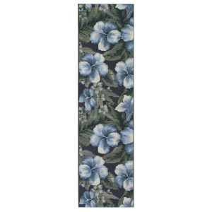 Liora Manne Marina Navy and Green 23 In. x 7 Ft. 6 In. Floral Indoor/Outdoor Rug