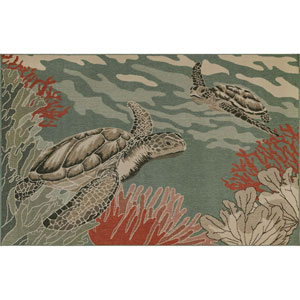 Riviera Sisal Rectangular 6 Ft. 6 In. x 9 Ft. 3 In. Seaturtles Outdoor Rug