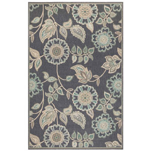 Riviera Sisal Rectangular 7 Ft. 10 In. x 9 Ft. 10 In. Floral Vine Outdoor Rug