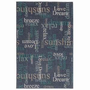 Riviera Sisal Rectangular 7 Ft. 10 In. x 9 Ft. 10 In. Happy Words Outdoor Rug