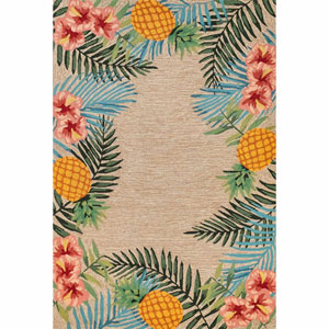 Ravella Blue Rectangular 5 Ft. x 7 Ft. 6 In. Tropical Outdoor Rug