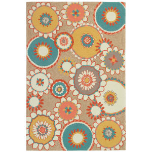 Liora Manne Ravella Sand 5 Ft. x 7 Ft. 6 In. Florentine Indoor/Outdoor Rug