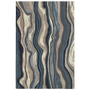 Liora Manne Ravella Blue and Gray 5 Ft. x 7 Ft. 6 In. Ipanema Indoor/Outdoor Rug