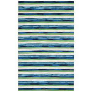 Visions Ii Warm Rectangular 42 In. x 66 In. Painted Stripes Outdoor Rug
