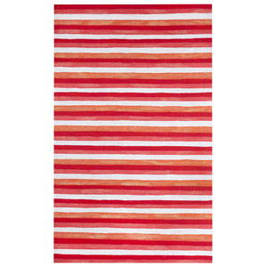Visions Ii Warm Rectangular 8 Ft. x 10 Ft. Painted Stripes Outdoor Rug
