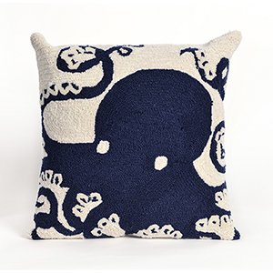 Liora Manne Frontporch Navy Square 18 In. Indoor/Outdoor Pillow