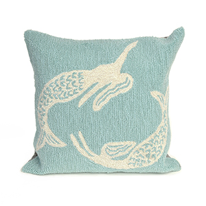 Liora Manne Frontporch Blue Square 18 In. Indoor/Outdoor Pillow