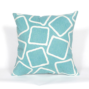 Liora Manne Visions I Blue Square 20 In. Indoor/Outdoor Pillow